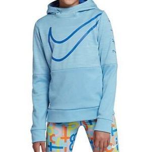 NIKE Youth Girls Light Blue Hoodie Sweatshirt L